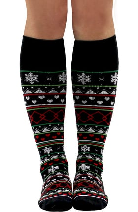 About the Nurse Women's Knee High 20-30 mmHg Ugly Sweater Print Compression Sock