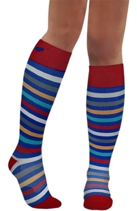 About the Nurse Women's Knee High 20-30 mmHg Winter Stripes Print Compression Sock
