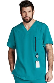 Barco One Men's V-Neck Zip Pocket Solid Scrub Top