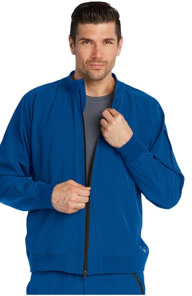 affdf21bc Barco One Men's Zip Front Bomber Solid Scrub Jacket