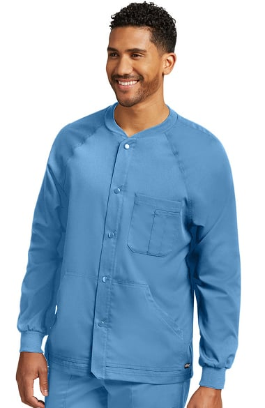 Grey's Anatomy Classic Men's Snap Front Raglan Sleeve Solid Scrub Jacket