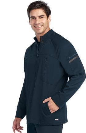 Clearance iMPACT by Grey's Anatomy Men's Ascent Zip Front Solid Scrub Jacket