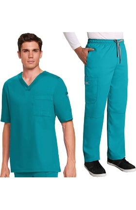 Grey's Anatomy™ Classic Men's V-Neck Top & Elastic Waist Pant Scrub Set