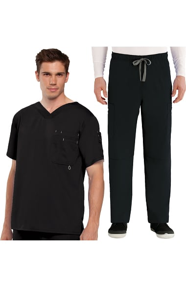 Grey's Anatomy Classic Men's Open V-Neck Top & Elastic Waist Pant Scrub Set