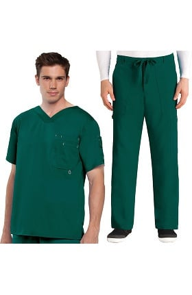 Grey's Anatomy™ Classic Men's V-Neck Top & Drawstring Utility Pant Scrub Set