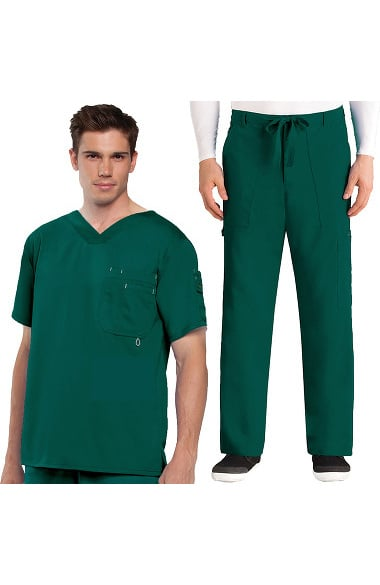 Grey's Anatomy Classic Men's V-Neck Top & Drawstring Utility Pant Scrub Set