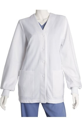 Clearance Lab Coats by Barco Uniforms Women's White Button-Front Knit Warm Up Solid Scrub Jacket