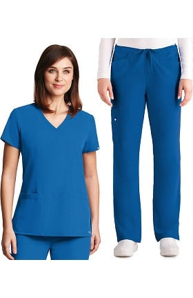 Signature by Grey's Anatomy™ Women's V-Neck Top & Drawstring Pant Scrub Set