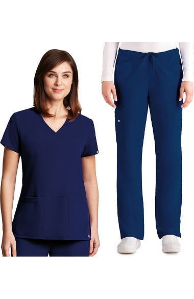 Signature by Grey's Anatomy Women's V-Neck Top & Drawstring Pant Scrub Set