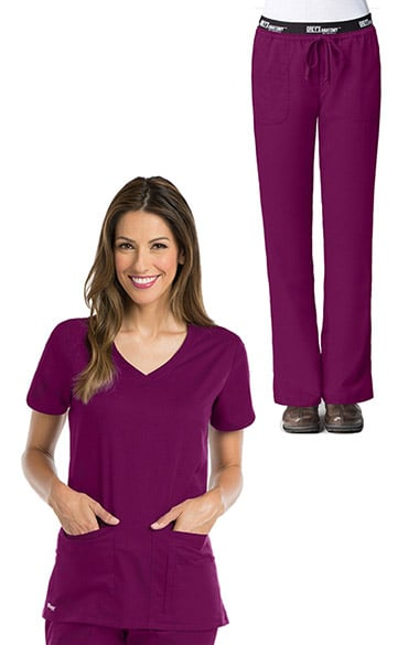 Active by Grey's Anatomy Women's V-Neck Solid Scrub Top & Logo Elastic Waist Drawstring Scrub Pants Set