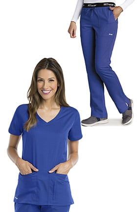Grey's Anatomy Classic Women's V-Neck Solid Scrub Top & Logo Elastic Waist Drawstring Scrub Pant Set