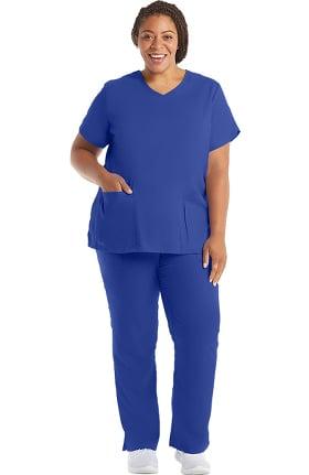 Grey's Anatomy Classic Women's V-Neck Solid Scrub Top & Logo Elastic Waist Drawstring Scrub Pant Set