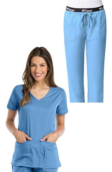 8dc6b2d8e2c Active by Grey's Anatomy™ Women's V-Neck Solid Scrub Top & Logo Elastic  Waist