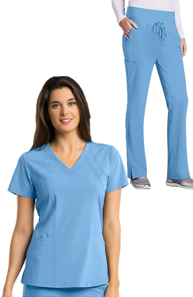 e259b6c6d52 Barco One™ Women's V-Neck Solid Scrub Top & Flare Leg Knit Waist ...