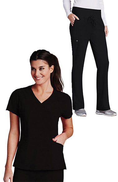 Barco One Women's V-Neck Solid Scrub Top & Flare Leg Knit Waist Cargo Scrub Pant Set
