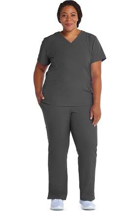 Barco One™ Women's V-Neck Solid Scrub Top & Flare Leg Knit Waist Cargo Scrub Pant Set