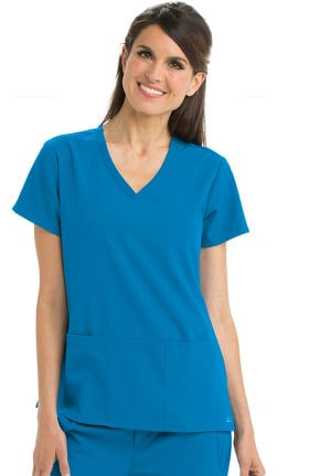 Clearance Signature by Grey's Anatomy Women's V-Neck Solid Scrub Top