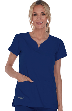 Signature by Grey's Anatomy Women's Notch Neck Solid Scrub Top