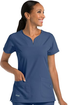 Signature by Grey's Anatomy™ Women's Notch Neck Solid Scrub Top