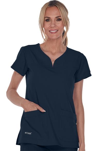 50a95502b59 Signature by Grey's Anatomy™ Women's Notch Neck Solid Scrub Top. 1; 2