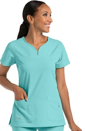 Clearance Signature by Grey's Anatomy Women's Notch Neck Solid Scrub Top