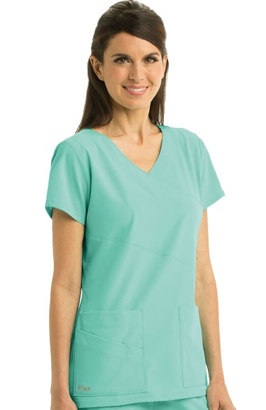 aad0d809ab0 Signature by Grey's Anatomy™ Women's Mock Wrap Solid Scrub Top ...