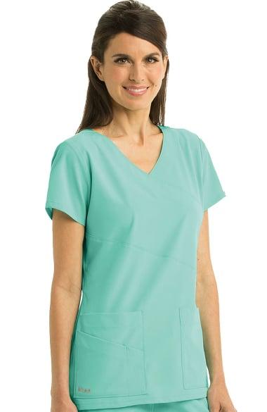 c9f2d10049b Signature by Grey's Anatomy™ Women's Mock Wrap Solid Scrub Top ...