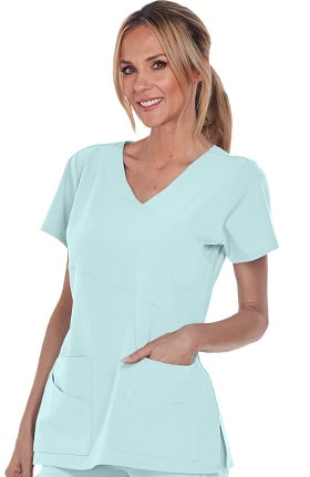 Clearance Signature by Grey's Anatomy Women's Mock Wrap Solid Scrub Top
