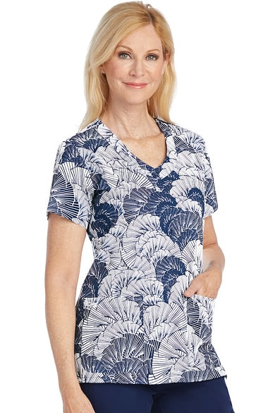 Signature by Grey's Anatomy Women's V-Neck Geometric Print Scrub Top