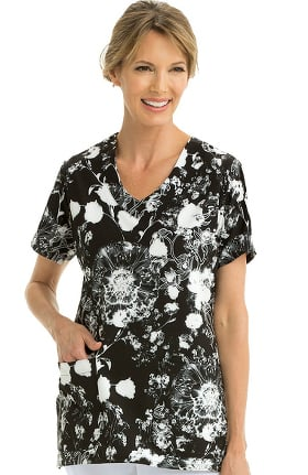Signature by Grey's Anatomy™ Women's V-Neck Floral Print Scrub Top