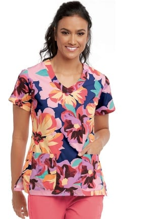 Clearance Signature by Grey's Anatomy Women's V-Neck Floral Print Scrub Top