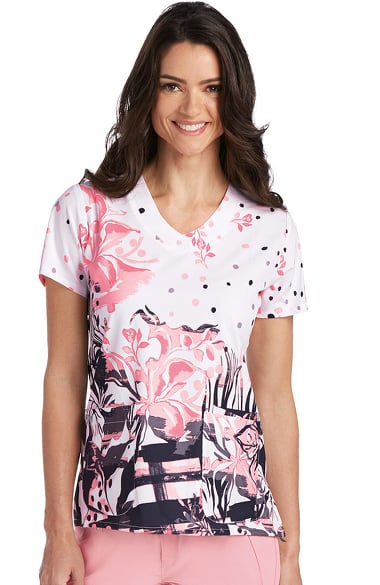 Signature by Grey's Anatomy Women's V-Neck Abstract Print Scrub Top