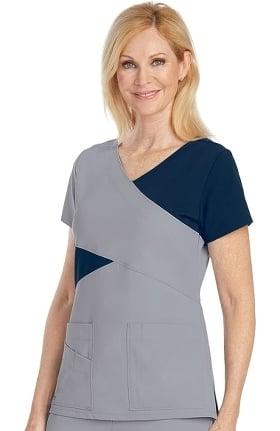Signature by Grey's Anatomy™ Women's Mock Wrap Solid Scrub Top