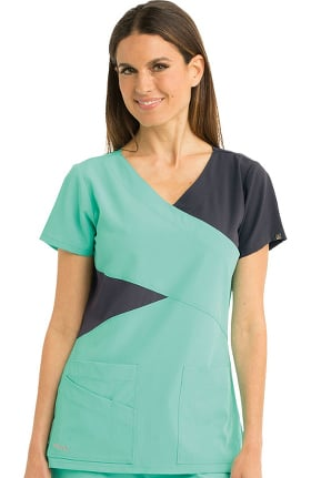 Signature by Grey's Anatomy Women's Mock Wrap Solid Scrub Top