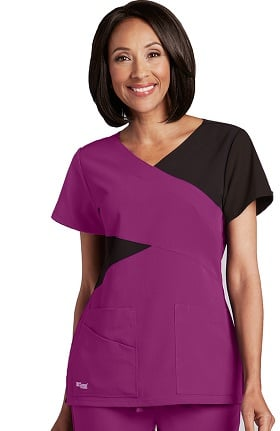 Clearance Signature by Grey's Anatomy™ Women's Mock Wrap Solid Scrub Top
