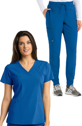 Barco One Women's V-Neck Solid Scrub Top & Boost Jogger Scrub Pant