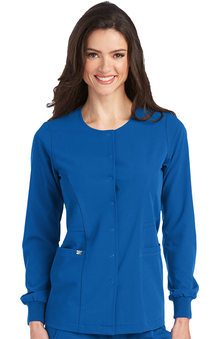 Signature by Grey's Anatomy Women's 2 Pocket Snap Front Solid Scrub Jacket