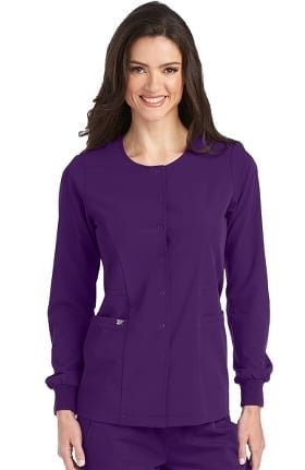 Clearance Signature by Grey's Anatomy Women's 2 Pocket Snap Front Solid Scrub Jacket