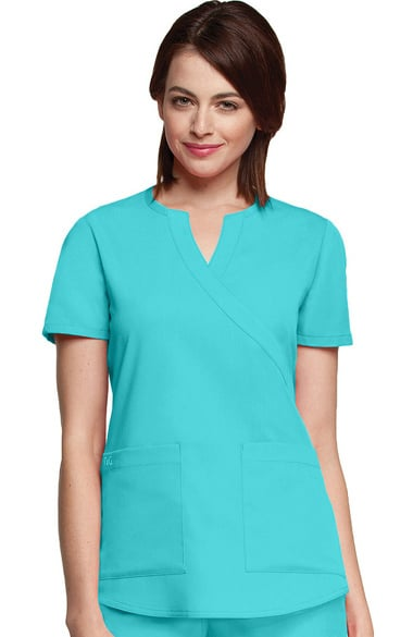 9dcbb4d62ec Clearance NRG by Barco Uniforms Women's Mock Wrap Solid Scrub Top ...