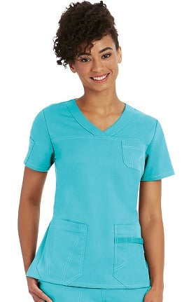 Clearance NRG by Barco Uniforms Women's Sporty V-Neck Solid Scrub Top
