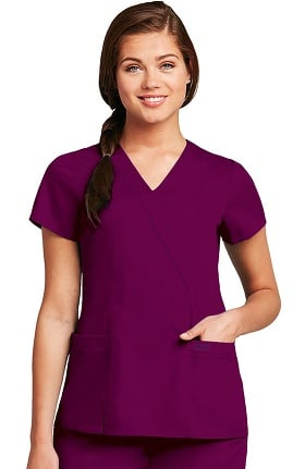 Grey's Anatomy Classic Women's Wrap with Princess Seams Solid Scrub Top