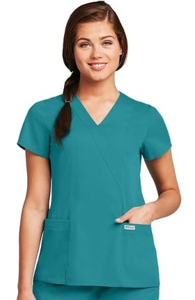 Clearance Grey's Anatomy™ Classic Women's Wrap with Princess Seams Solid Scrub Top