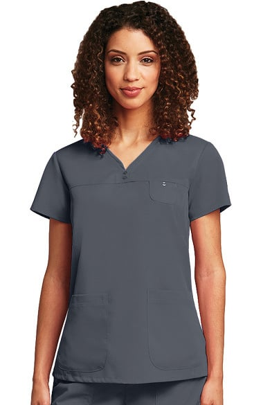 Grey's Anatomy Classic Women's Detailed V-Neck Solid Scrub Top