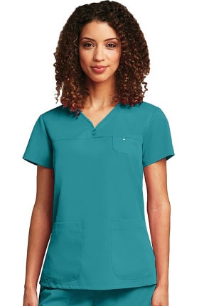 Clearance Grey's Anatomy™ Classic Women's Junior  Detailed V-Neck Solid Scrub Top