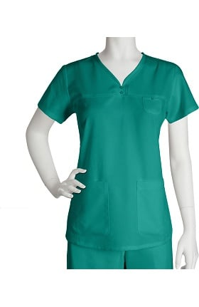 Clearance Grey's Anatomy Classic Women's Junior  Detailed V-Neck Solid Scrub Top
