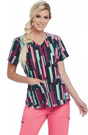 Grey's Anatomy Classic Women's Bossa Nova Stripe Print Scrub Top