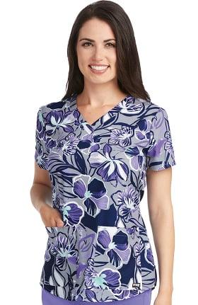 Grey's Anatomy™ Women's V-Neck Floral Print Scrub Top