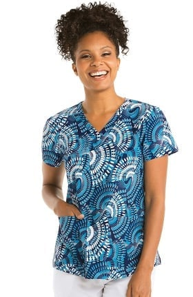 Clearance Grey's Anatomy Classic Women's V-Neck Abstract Print Scrub Top