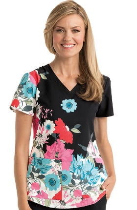 Clearance Grey's Anatomy Classic Women's V-Neck Floral Print Scrub Top