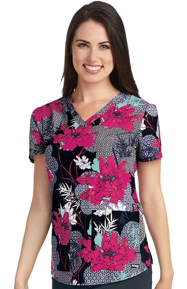 Grey's Anatomy Women's V-Neck Floral Print Scrub Top